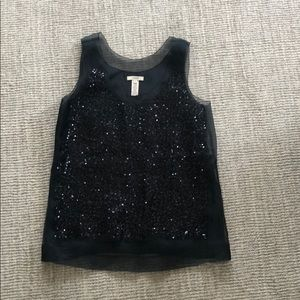 J. Crew Tops - Black sequin shell with silk underlayer